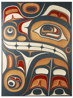 Lattimer Gallery - Don Yeomans - Red Cedar Panel- color scheme for cedar Arte Tribal, Tribal Art, Native Art, Native American Art, Tatouage Haida, Cedar Paneling, Haida Art, Art Premier, Inuit Art