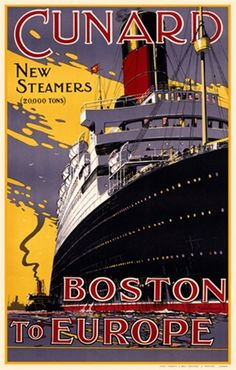 Cunard by Walter Thomas 1930 England - Beautiful Vintage Poster Reproductions. This vertical English travel poster features a huge steamship boasting New Steamers 20,000 tons with a tug boat next to it. Giclee Advertising Print. Classic Posters