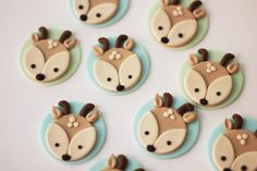Items similar to Fondant Deer Cupcake Toppers - Woodlands fondant cupcake topper set. on Etsy Fondant Cupcakes, Fondant Toppers, Cakepops, Deer Cakes, Cold Cake, Party Set, Forest Cake, Forest Party, Cheap Clean Eating