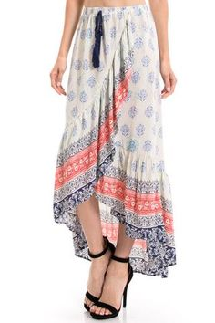 MIXED PRINTED RUFFLE MAXI SKIRT PLUS