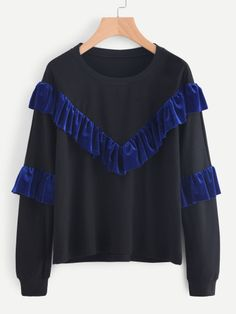 To find out about the Velvet Frill Trim Panel Sweatshirt at SHEIN, part of our latest Sweatshirts ready to shop online today! Sweatshirts Online, Mens Sweatshirts, Hoodies, Fashion News, Fashion Outfits, Fashion Fashion, Vintage Fashion, Sweaters And Jeans, Grey Sweatshirt
