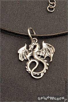 GoT Dracheam Lederband   Halskette Anhänger Metall von SpinnWeben
