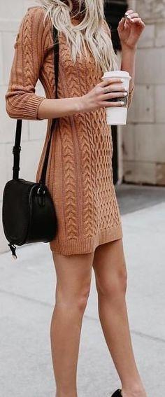 brown knitted long-sleeve sheath dress