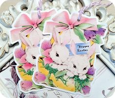 NEW  Vintage White Bunnies in Easter by LittlePaperFarmhouse, $5.95