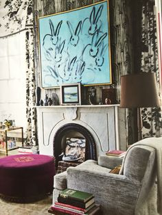 Bunnies Painting by Hunt Slonem layered against Kelly Wearstler's wallpaper in Crescent. House Beautiful, May 2015
