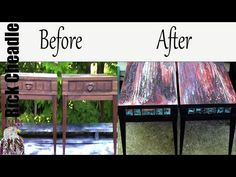Recycled Vintage Tables. Fluid Painting Techniques. Paint Pour, Swiping. Embellishments - YouTube