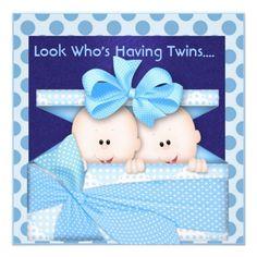 BLUE TWINS BABY SHOWER  INVITATION