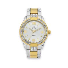 Elite Ladies Two Tone Watch Gold Watch, Rolex Watches, Bracelet Watch, Jewels, Lady, Bracelets, Accessories, Bangle Bracelets, Jewelery