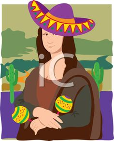 iCLIPART - Royalty Free Clipart Image of a Mexican Mona Lisa