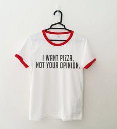 Quiero pizza camiseta niñas adolescentes grunge unisex tumblr instagram blogger hipster punk regalos souvenirs Capezio  Color puede aparecer ligeramente diferente en diferentes tipos de monitores  Material de la camisa: 100% algodón  Color: Blanco con estampado de vinilo de Color rojo o negro  Talla S -Pecho: 33 pulgadas o cm 84 -Longitud: 24 pulgadas o 61 cm (hombro a fondo) -TALLA 6-8 US TAMAÑO 2-4, REINO UNIDO  Talla M -Pecho: 37 pulgadas o cm 94 -Largo: 25,5 pulgadas o 65,5 cm (hombro a…
