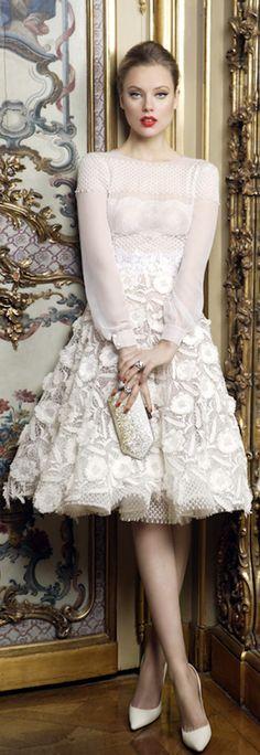 Mario Sierra ~ Pale Pink Long Sleeve Applique Midi Dress