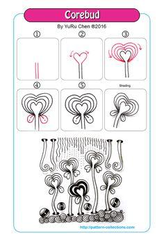 corebud tangle pattern -by-yuru-chen  PatternCollections.com                                                                                                                                                                                 More