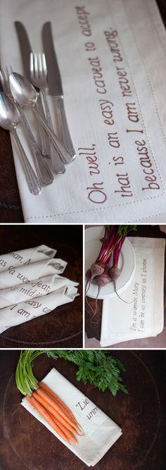 abbey napkin, diy quot, quotes, downton abbey3, crafti