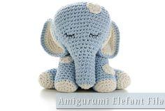 Häkelanleitung zu diesem Amigurumi Elefant Fila http://www.meinnähkästchen.com/produkt/amigurumi-haekelanleitung-elefant-fila/