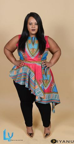 Light and easy to wear, the dashiki asymetrical top is a great addition to your closet. It can be worn to work, parties, or going out to dinner. You decide! Its stunning multicolor African print is perfect for the warmer months ahead, together with a pa African Attire, African Wear, African Fashion Dresses, African Dress, African Style, African Outfits, African Print Jumpsuit, Fashion Kids, Look Fashion