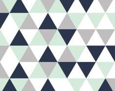 Navy mint grey triangles minky baby blanket mint by WilderAndBean