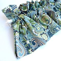 FOREST GLEN Valance Curtains Blue Green Teal Brown by bananabunch, $24.00