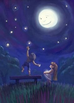 Stars From The Night Sky Picture illustration, children, fantasy, love) Digital Art Gallery, Moon Pictures, Illustration Mode, Illustration Children, Art Illustrations, Moon Magic, Beautiful Moon, Beautiful Life, Moon Art