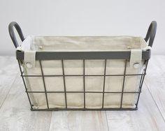 Linen Lined Metal Storage Basket W Handles Antique Grey Menards Storage Baskets Antiques Craft Supplies