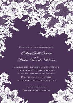Lace Fantasy  Wedding Invitation - Plum | Invitations by David's Bridal