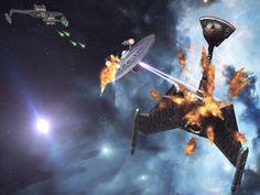 Star Trek Space Battle USS Enterprise 1701 Versus K'tinga Battlecruiser. Free Star Trek computer desktop wallpaper, images, pictures download