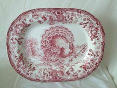 ROYAL STAFFORDSHIRE RED CLARICE CLIFF TONQUIN LARGE CENTER TURKEY PLATTER