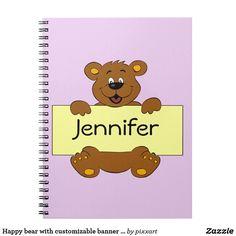 Happy bear with customizable banner cartoon girls spiral notebook