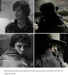 Bellamy is like a dad to these kids. Love that he still seems awkward being hugged