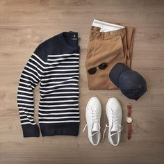 Keeping cozy in cashmere this season with this Nautical Stripe Cashmere Crew from @nautica Also featured are their Aviator Sunglasses and Leather Watch. Love this time of year. #citymeetssea #sp