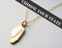 Choose your state and length to keep your home close to your heart with this super dainty necklace.  Gold State Charm Necklace on a 14k gold filled chain www.etsy.com/shop/catekatan
