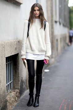 Taylor Marie Hill, MFW SS 2015. Get the look: + Chinti and Parker Crew Neck Sweater + Banjo & Matilda Shearling Crew + Rebecca Minkoff MAB Backpack + BB Dakota Dakota Collective Alanna Leather Leggings + Vince Yarmon Chelsea Boots