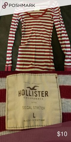Long sleeve Crew Neck Gray and burgundy strip long sleeve Crew Neck Hollister Tops Tees - Long Sleeve