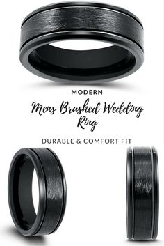 Men's modern yet classy black tungsten wedding ring. This men's black tungsten wedding ring is designed with a brushed center and two channel groves.