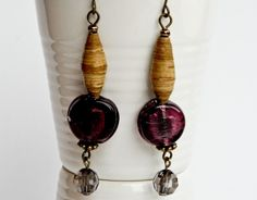 Circular Dark Purple Bead Earrings Golden Heart, Heart Crafts, Paper Beads, Bead Earrings, Dark Purple, Jewelry Design, Jewellery, Handmade, Color