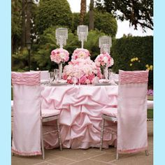 Wow, wow, wow, This would be perfect for my wedding. #wedding #table #cover #pink #fabric #material #ruffles #chair #seat