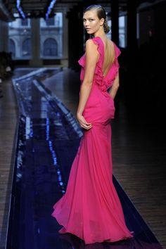 Pink ruffling dress by Jason Wu.