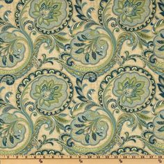 CLASSIC VINTAGE INDIENNE PAISLEY FABRIC - ENGLISH MANOR LINEN BLUES