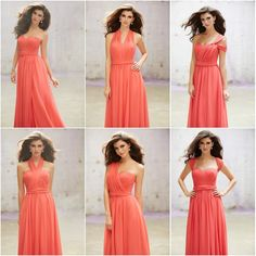Coral bridesmaid dresses, all different styles but same colour. Perfect for my wedding!
