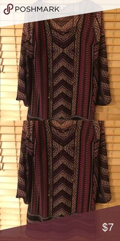 Geometric patterned dress Triangle patterns. Navy blue, purple, pink colors. Laced at the neck line. Loose and open long sleeves. Shift dress. Chiffon material. Casual wear. Never been worn. Charlotte Russe Dresses Long Sleeve