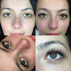 Before and after Eyelash Extensions.