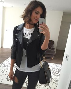 WEBSTA @ lucymeck1 - Morningggg!! Off to work in @lucysboutique_ today! #ootdJacket @lucysboutique_ Tee @zoekarssen from @veryexclusiveuk Jeans @topshop Choker @stradivarius Bag @marcjacobs from @veryexclusiveuk  #fashion #leatherjacket #lbstyle
