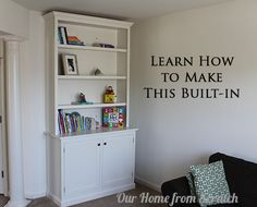 Learn how to make a custom #built-in from scratch. #shaker style inset doors.  Very detailed tutorial. #bookcase
