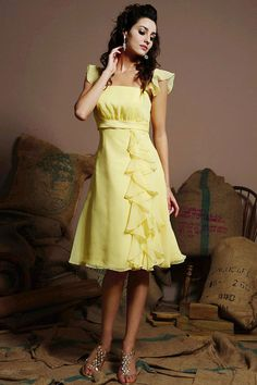 2012 chiffon over satin beach bridesmaid dress. Forget the wedding, I would wear this as a casual summer dress.