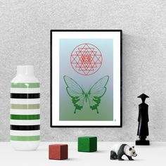 sacred geometry print, green  butterfly poster, zen wall art, digital download, printable home decor Green Butterfly, Frame It, Hanging Art, Sacred Geometry, Printable Wall Art, Art For Sale, Bees, Butterflies, Insects