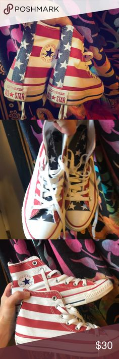 American Flag High Top Converse Chuck Taylors Size 6. Worn a couple of times. Look and feel new. But a couple of light marks here and there. I would wash if you like broken in looking chucks. Converse Shoes Sneakers