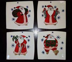 MUGECE - Çini tekniği ile dörtlü kahvaltı tabağı Pottery Painting, Ceramic Painting, Painting On Wood, Ceramic Art, Christmas Plates, Christmas Crafts, Xmas, Illustration Noel, Christmas Paintings