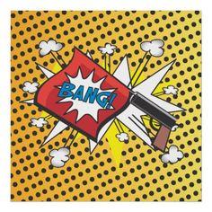 Pop art Comic book inspired Bang Gun poster