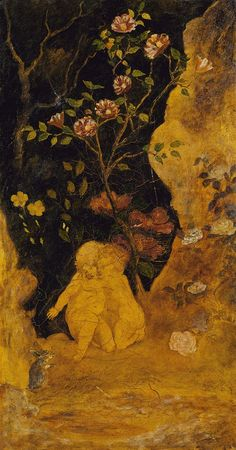 """Panel for a Screen: """"Children Frightened by a Rabbit,"""" Albert Pinkham Ryder, ca. 1876, oil on gilded leather mounted on canvas, 38 1/2 x 20 1/4"""", Smithsonian American Art Museum."""