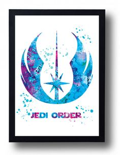 ♥ Jedi order watercolor print Jedi poster Star Wars print Jedi symbol art ♥  ------------------- BUY 2, GET 1 FREE --------------- Purchase ANY 2 items from my shop and receive a 3rd item FREE! FREE ITEM WIll BE SAME OR SMALLER SIZE, OF COURSE! Buy 2 individual prints and receive a 3rd print FREE! When you order 2 prints, send me a link in conversation or in notes to seller of the 3rd item that you want for free.  ♥ This artwork is a fusion of my original watercolor painting and my own…