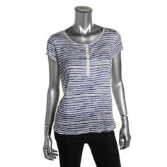 """Kensie SZ M Blue Stretch Striped Henley Shirt NWT Kensie SZ M Blue Stretch Striped Henley Shirt NWT Semi sheer/see thru  Bust 34-36 Length 23 1/2"""" Short Sleeve Henley Shirt New With Tags! Kensie Tops"""